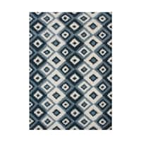 Alliyah Rugs Handmade Ikat Orion Blue New Zealand Blend Wool Rug - 9' x 12'