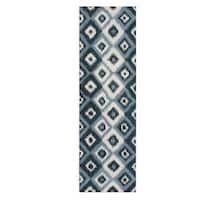 Alliyah Handmade Ikat Orion Blue New Zealand Blend Wool Runner Rug - 3' x 10'
