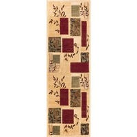 """Hannover Floral Nature Boxes Ivory Beige Green and Red Runner Rug - 2'3"""" x 7'3"""""""