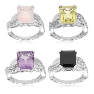 Sterling Silver Rhodium Plated Multi-gemstone and White Topaz Fashion Ring