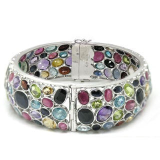 De Buman Sterling Silver Natural Multi-colored Gemstones Bangle Bracelet