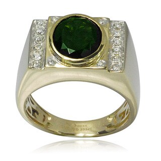 De Buman 10k Yellow Gold 2/5ct TDW Diamond Genuine Chrome Diopside Men's Ring (H-I, I1-I2)