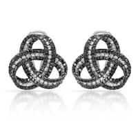 14k White Gold 2 3/8ct TDW Black and White Diamond Celtic Knot Earrings