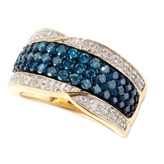 14k Yellow Gold 1ct TDW Blue and White Pave Diamond Ring
