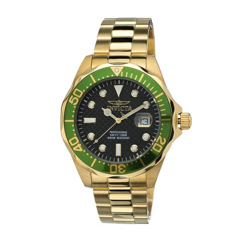 Invicta Men's Green Gold-Tone Stainless Steel Pro Diver Watch