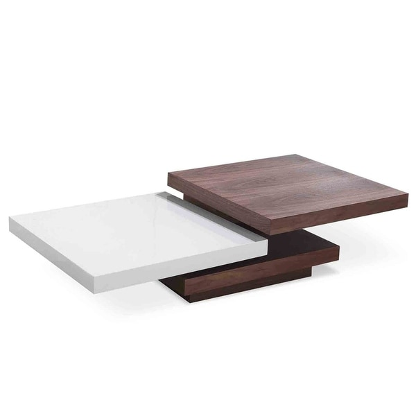 Walnut/ White Lacquer Designer Coffee Table With Swivel Trays   AVE