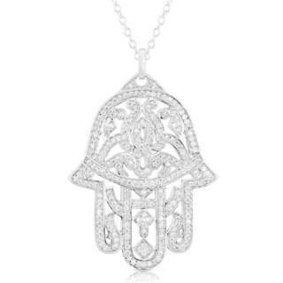 Magnificent Silver Micro Pave Cubic Zirconia Hamsa Pendant