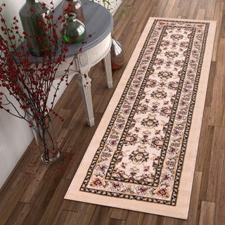 Antep Oriental Ivory, Beige, Red, and Green Oriental Floral Border Medallion Runner Rug (2' x 7'3)