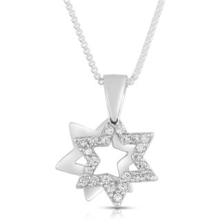 Petite Sterling Silver Star of David Cubic Zirconia Pendant Necklace