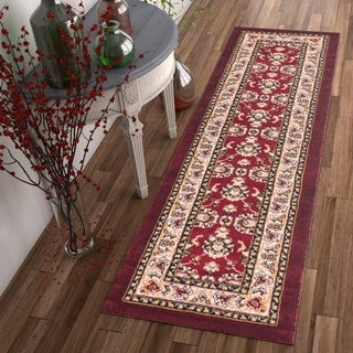 Well-woven Antep Traditional Wide Border Red Runner Rug (2' x 7'3)