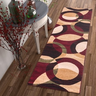 Red/ Multi Circular Geometric Rug (2' x 7'3 Runner)