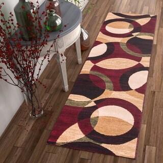 Well-woven Multicolored Modern Geometric Circular Runner Rug (2' x 7'3)