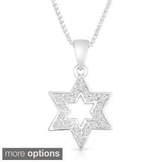 Unique Silver Cubic Zirconia Star of David Pendant Necklace
