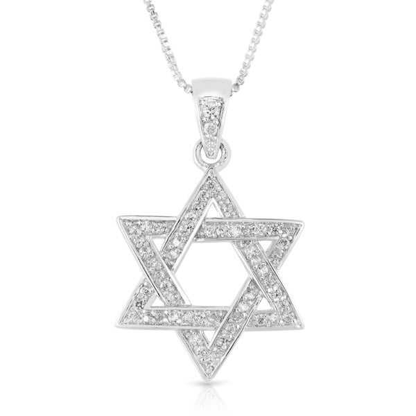 Sterling Silver Cubic Zirconia Woven Star of David Pendant Necklace