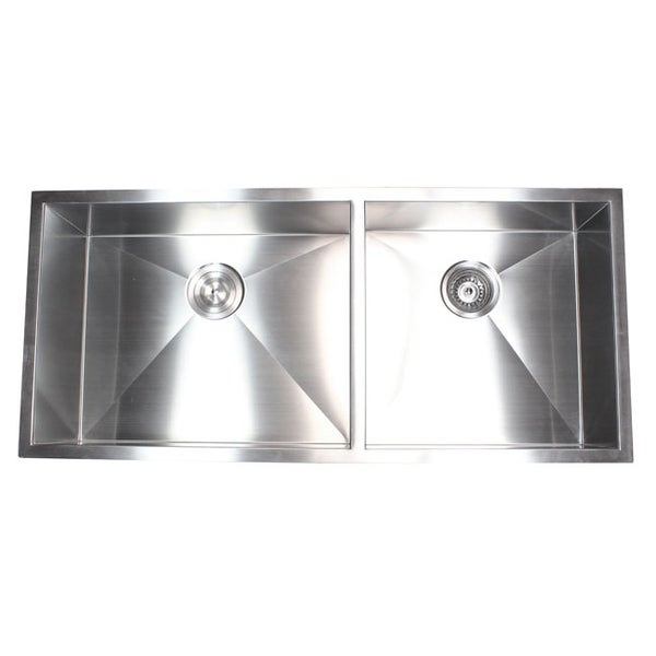 Shop Stainless Steel 42 Inch Double Bowl 60 40 Zero Radius