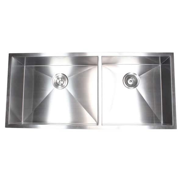 Shop Stainless Steel 42-inch Double-bowl 60/40 Zero Radius ...