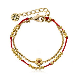 Little Miss Twin Stars 14k Gold Plated Beads and Flower Center Chord 2-strand Bracelet