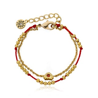 Little Miss Twin Stars Brass 14k Gold Plated Bead and Heart Center Red Chord 2-strand Bracelet