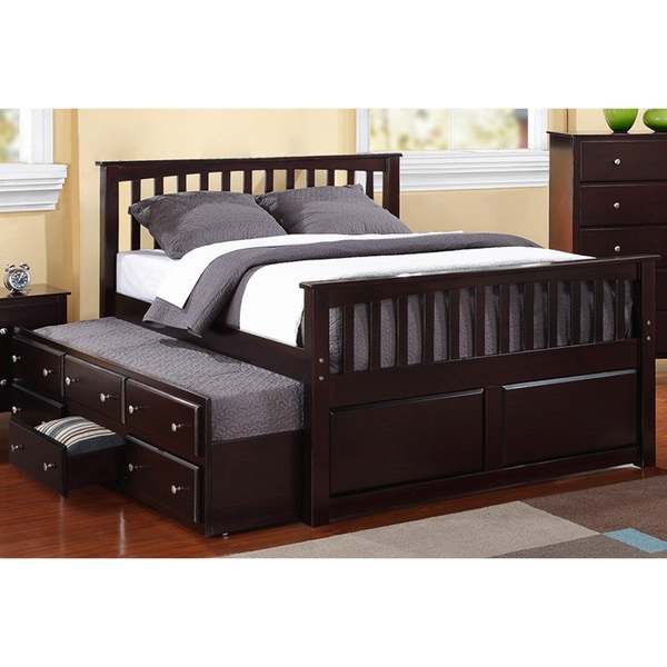 Shop Espresso Wood Full size 3 drawer Twin Trundle Captain's Bed
