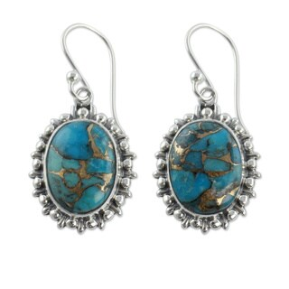Handmade Sterling Silver 'Azure Dream' Composite Turquoise Earrings (India)
