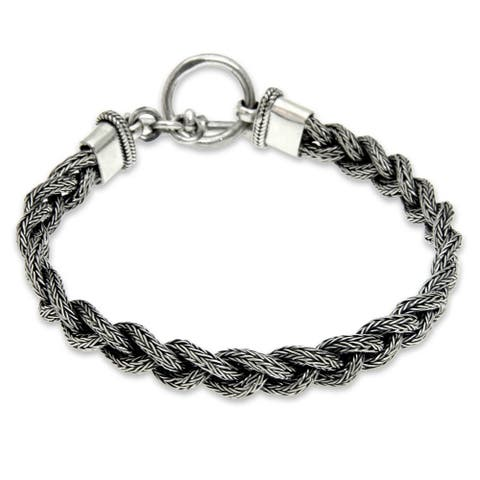 Handmade Sterling Silver Men's Naga Braid Bracelet (Indonesia)
