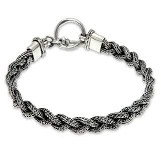 Sterling Silver Men's 'Naga Braid' Bracelet (Indonesia)