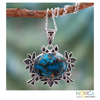 Sterling Silver 'Poetry' Composite Turquoise Necklace (India)