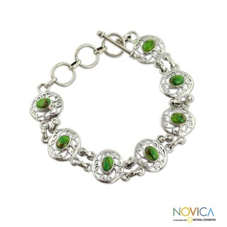 Handmade Sterling Silver 'Tropical Green' Composite Turquoise Bracelet (India)