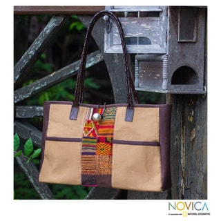 Handmade Leather Accent Cotton 'Tribal Tan' Shoulder Bag (Thailand)