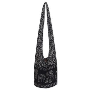 Cotton 'Black and White Siam' Medium Shoulder Bag (Thailand)