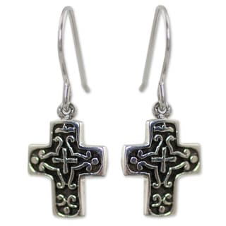 Handmade Sterling Silver 'Eternal Cross' Earrings (Thailand)