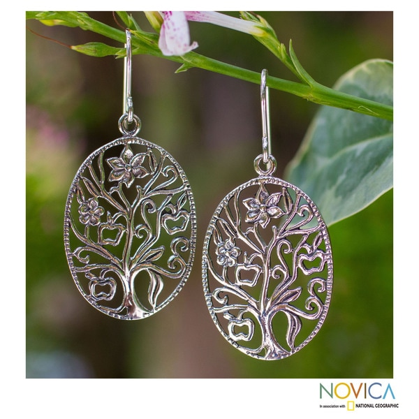 Handmade Sterling Silver 'Flowing Tree' Earrings (Thailand)