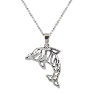 Handmade Sterling Silver 'Tiger Dolphin' Necklace (Thailand)