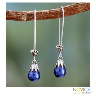 Sterling Silver 'Bluebells' Cultured Pearl Earrings (8 mm) (India)