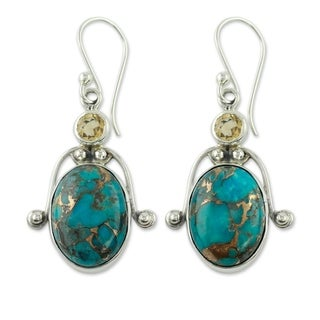 Link to Handmade Sterling Silver Goddess Citrine and Turquoise Dangling Style Multi Stone Earrings (India) Similar Items in Earrings