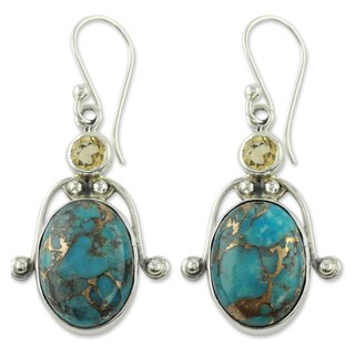 Handmade Sterling Silver Goddess Citrine and Turquoise Dangling Style Multi Stone Earrings (India)