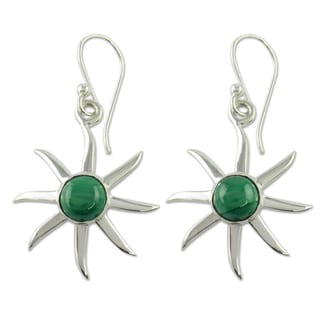 Handcrafted Sterling Silver 'Verdant Sun' Malachite Earrings (India)