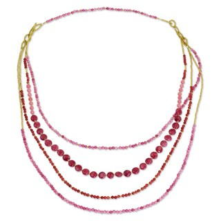 Handmade Brass 'Summer Roses' Quartz Necklace (Thailand)