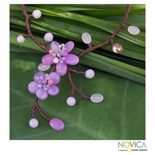 Handmade Quartz 'Lilac Pink Spray' Beaded Necklace (Thailand)