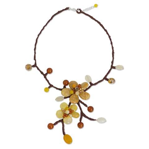 Handmade Carnelian 'Lilac Pink Spray' Beaded Necklace (Thailand)