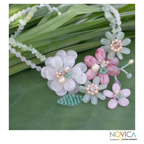 Handcrafted Pearl 'Eden' Multi-gemstone Necklace (4mm, 8mm) (Thailand)