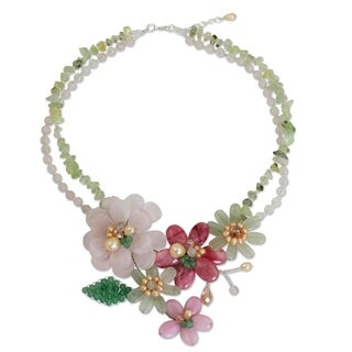 Handcrafted Pearl 'Eden' Multi-gemstone Necklace (4mm, 8mm) (Thailand)