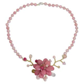 Handcrafted Silver Plated 'Rose in Bloom' Quartz Necklace (Thailand)|https://ak1.ostkcdn.com/images/products/8653569/Handcrafted-Silver-Plated-Rose-in-Bloom-Quartz-Necklace-Thailand-P15913962.jpg?impolicy=medium