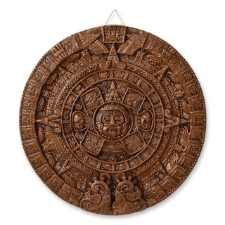 Handcrafted Ceramic 'Brown Aztec Calendar' Plaque (Mexico)