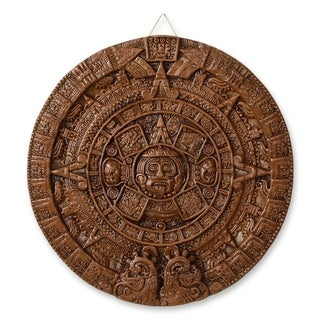 Handmade Ceramic 'Brown Aztec Calendar' Plaque (Mexico)