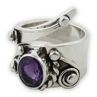 Sterling Silver 'Desert Serpent' Amethyst Ring '(Mexico)
