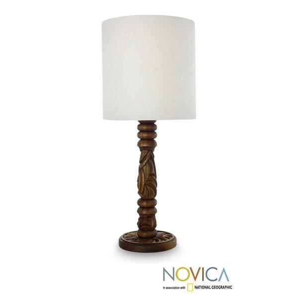 Handmade Mahogany Wood 'Natural Elegance' Table Lamp (Mexico)