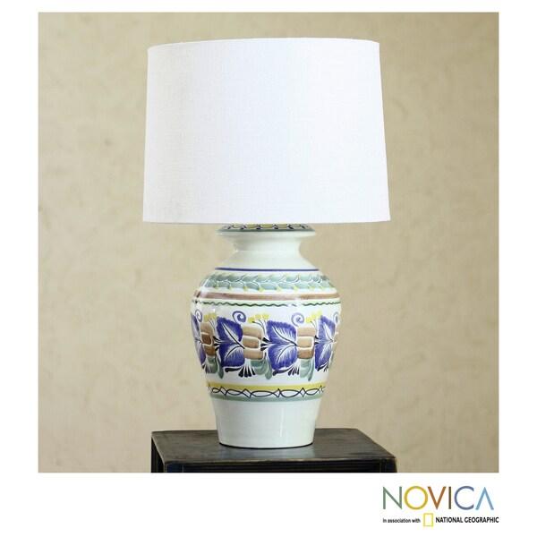Handmade Ceramic 'Joyous Spring' Majolica Table Lamp (Mexico)