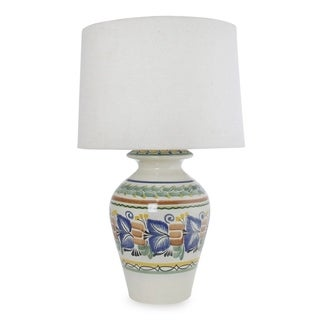 Handcrafted Ceramic 'Joyous Spring' Majolica Table Lamp (Mexico)