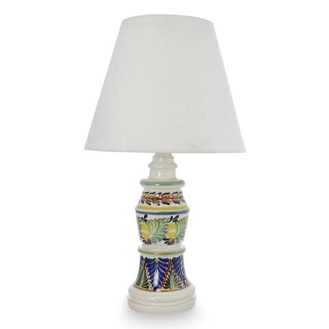 Handmade Ceramic 'Mexican Floral' Majolica Table Lamp (Mexico)